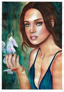 original painting A3 221GM art samovar watercolor female portrait Signed 2021