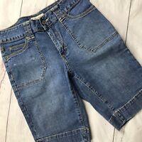 St Johns Bay Womens Sz 4 Denim Utility Bermuda Shorts Flap Pockets