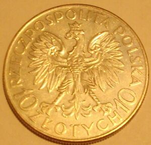 1933 10 zl SOBIESKI  POLISH SILVER Coin