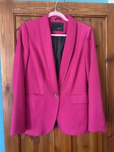 Stunning Cerise Pink Next Oversized Blazer Suit Jacket 10 Smart