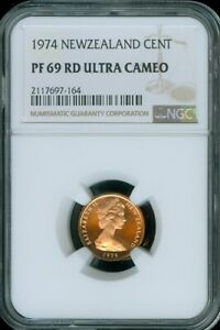 1974 NEW ZEALAND 1 CENT NGC PF 69 RD ULTRA CAMEO TOP POP FINEST KNOWN