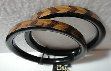 "Wood Bangle Bracelets Set of Two Chevron Pattern 1/4"" Wide NWT"