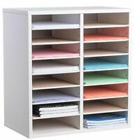 AdirOffice White 16 Compartments Adjustable Wooden Literature Office Organizer