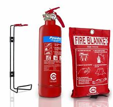 1KG POWDER ABC FIRE EXTINGUISHER WITH FIRE BLANKET HOME OFFICE KITCHEN CAR