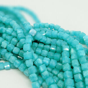 Amazonite cubes for jewellery making by Pearls Direct