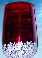 "Hand Blown Ruby Red Spatter Glass Vase circa 1960s Heavy Measures About 8"" tall"
