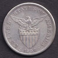 1907-S US Philippines 1 Peso United States of America Silver Coin -Stock #H4