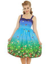 LINDY Bop Plus Size 8-24 Saskia Blue Strawberry Swing Dress Pin up off UK 20 Waist 100cms Bust 110 Cms