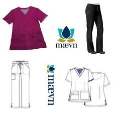 New Women's Maven Medical Scrub Top (#1722) Bottom (#7322) White,Black,Plum,Pew
