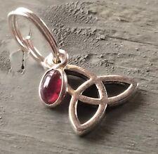 Garnet Charm & Silver Tibetan Triquetra Jump Ring Charm Wicca Pagan Gothic Celts