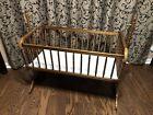 Vintage Jenny Lind Heirloom Wooden Baby Bassinet Swing Cradle Maple EUC COMPLETE