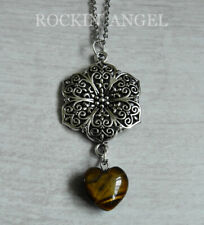 Antique Silver Plt Flower & Tigers Eye Heart Pendant Chain Necklace Ladies
