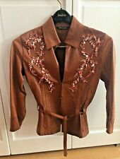 ROBERTO CAVALLI Brown leather Jacket with Coral Embellishments