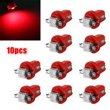 10Pcs Car LED Red T5 B8.5D Gauge 5050 1SMD Speedo Dashboard Side Light Bulb Lamp