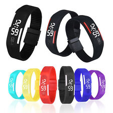 Mens Womens Rubber Multicorlor Sports LED Watch Slim Digital Wristwatch