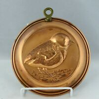 """Vintage Copper Plated Bird Mold Wall Hanging 6"""" Circular Brass Hanging Ring"""
