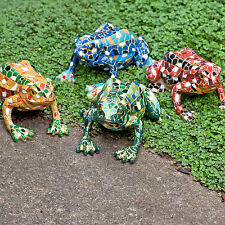 Mosaic Frog Garden Animal Ornament Bright Coloured Outdoor Statue