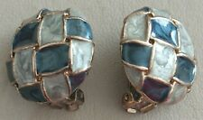 Clip On Earrings Gold Tone Antique Vintage 1980s Retro Blue Chequered