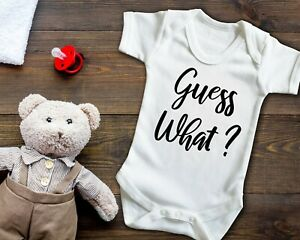 Guess what? pregnancy reveal Short sleeve baby grow.