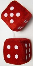 "AUTOMOBILE - CAR FUZZY DICE PAIR WITH STRING 2.5"" CUBES RED"