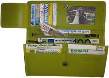 LEDER Geldtasche NEW YORK - limone - für 2 WÄHRUNGEN Geldbörse Portemonnaie grün