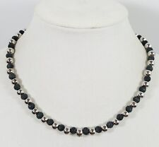 Metal Black Beads Modern #3329 Stunning Vtg Estate Necklace/Choker Silver Tone