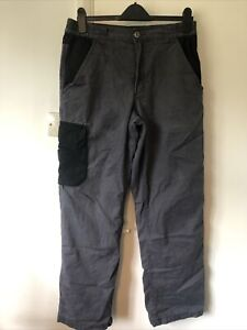 Mens Black & Grey Fleece Lined Work Trousers 32W 32L