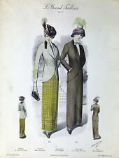ORIGINAL c.1925 ART DECO FRENCH FASHION PRINT Atelier Bachwitz LE GRAND TAILLEUR