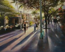 Cityscape Painting, Delray Beach, Shadows of people, Sunny Street, Palm tree,