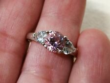 Pink Cubic Zirconium Sterling Silver Ring