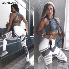 Women Yoga Pants Pockets High Waisted Sports Hip Push Up Gym Fitness Leggings NJ