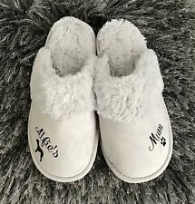 More details for bedlington terrier dog on  new personalised ladies grey slippers  any size