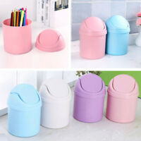 Clean Trash Waste Bins Household Can Mini Desktop Desk With Lid Small
