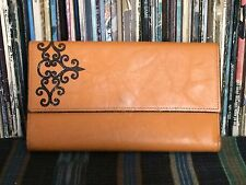 Vtg Princess Gardner Cowhide Split Leather Wallet Black Scroll Trifold Checkbook
