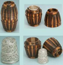 Antique Tunbridge Ware Thimble Barrel w/ Sterling Silver Thimble * 1898 Hallmark