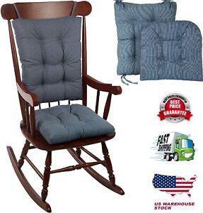 Rocking Chair Cushion Set Non-Slip Pad Cover Seat Outdoor Rocker Blue