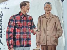 Vtg Men's Simplicity Pendleton Shirt / Jacket Leisure Pattern 4884 sz M UNCUT!