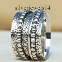 925 Sterling Silver Spinner Ring Wide Band Meditation Ring Statement Jewelry A1