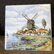 Vintage Ceramic Tile Windmill Holland Color
