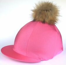 GGGear Cross Country Hat Silk, Hot Pink with Faux Fur Pom pom
