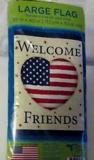 "Nwt Welcome Friends - Usa Patriotic Heart Lg. garden flag / banner 28"" x 40"""