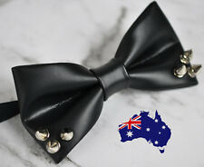 Men Women Black Faux Leather Rivet Punk Style Bowtie Bow Tie Dance Wedding Party