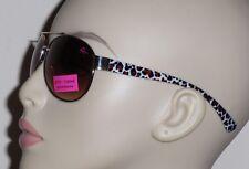 Betsey Johnson Women's Gold Aviator 100% UV Browns Animal Print Arm Sunglasses