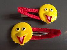 Big Bird Girls Hair Clip (2x hairclip) Or Elmo, Cookie Monster, Sesame Street
