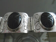 Hand Made Sterling Silver Bracelet w/ Obsidian (Volacanic Stone) Free Shipping
