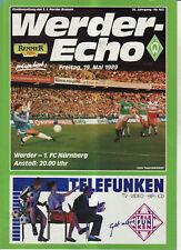 BL 88/89 SV Werder Bremen - 1. FC Nürnberg