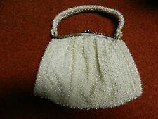 Vtg CORDE' BEAD Purse LUMURED USA Ivory Beige Cream Handbag White & Clear Bead