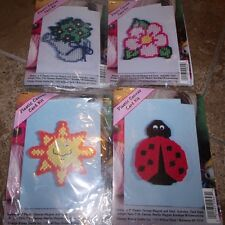 Set of 4 Garden SUN LADYBUG FLOWER WATER CAN Plastic Canvas Greeting Card Kits