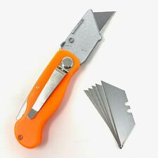 Folding Utility Pocket Knife Box Cutter With Lock blade Orange 6 blades