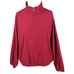 VTG Eddie Bauer Golf Jacket Womens L Red 1/2 Zip Pullover Windbreaker Windshell